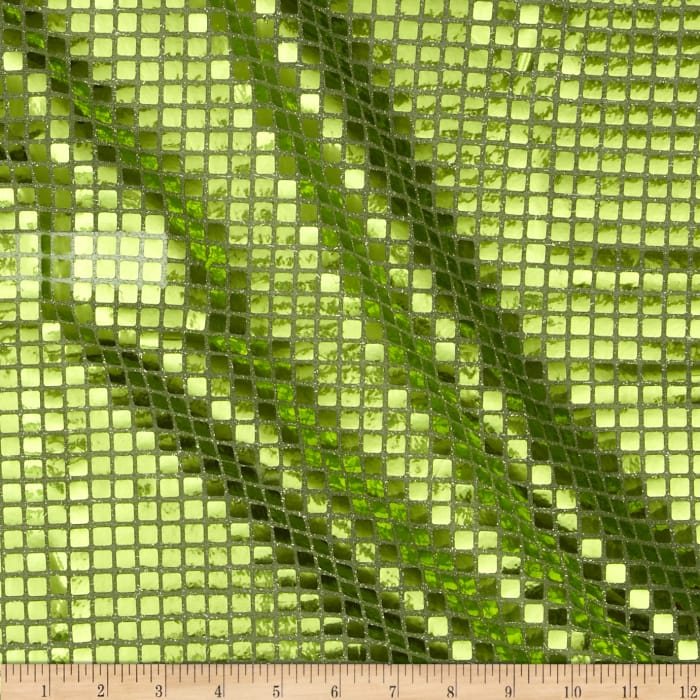 Sequin Check Fabric Lime