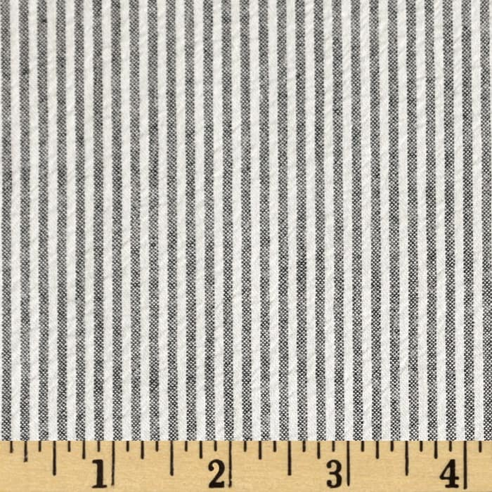 Cotton Seersucker Stripe Black/White