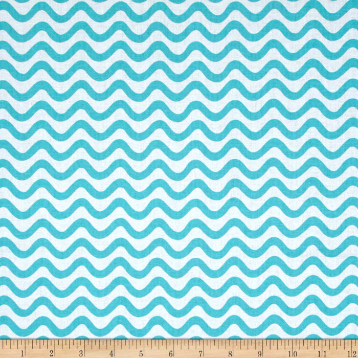 Tiny World Wavy Lines Turquoise