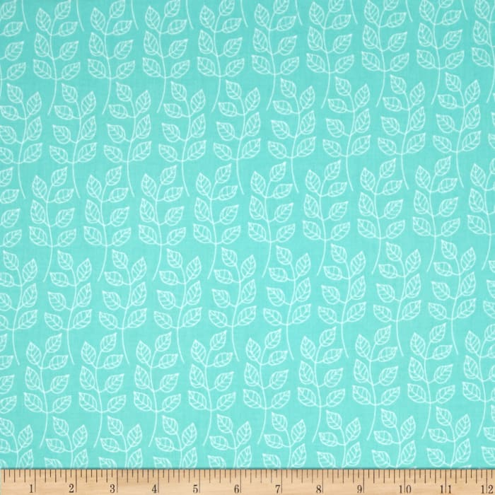 Fabric Freedom Springtime Floral Leafy Branch Green