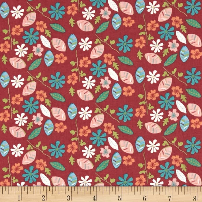 Fabric Freedom Woodland Floral Leaves & Flowers Red