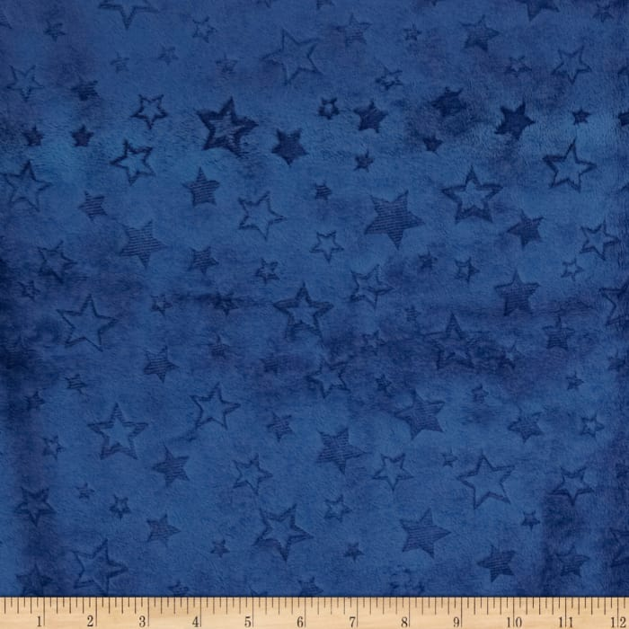 Shannon Minky Embossed Star Cuddle Midnight Blue