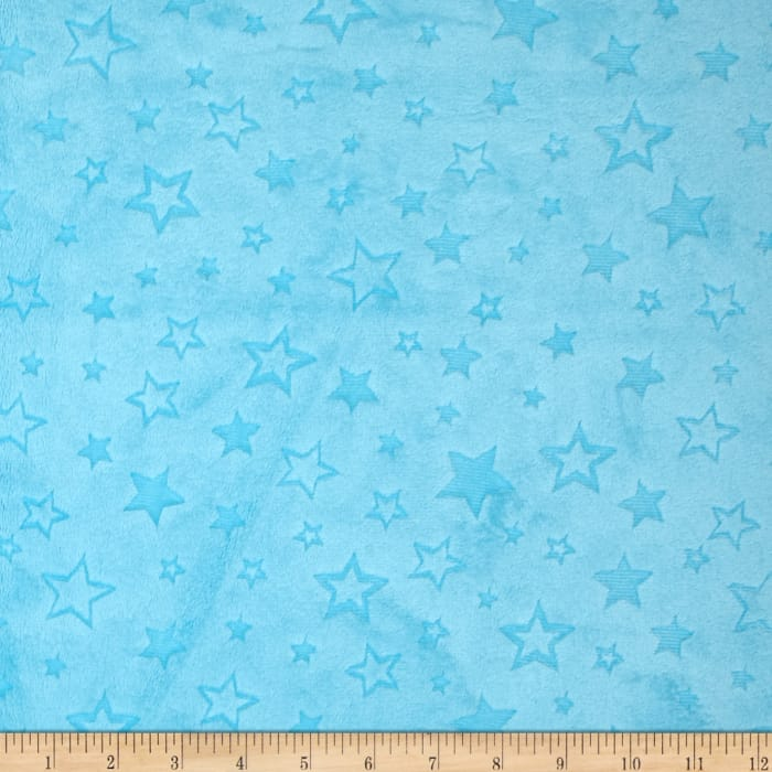 Shannon Minky Embossed Star Cuddle Turquoise