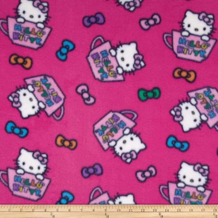 Hello Kitty Fleece Hello Kitty in the Cup Pink