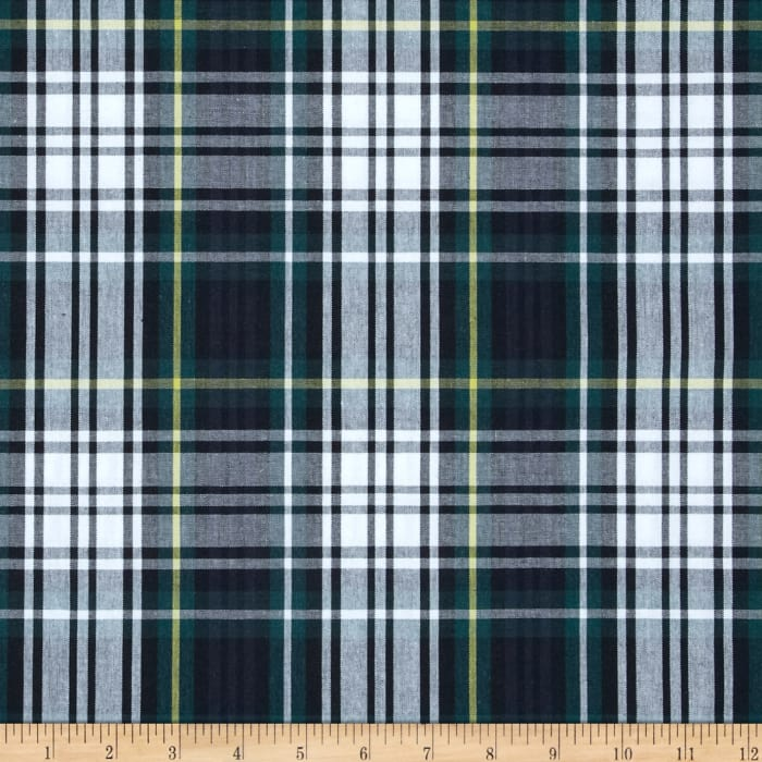 Poly Cotton Uniform Plaid Navy Green Yellow Discount