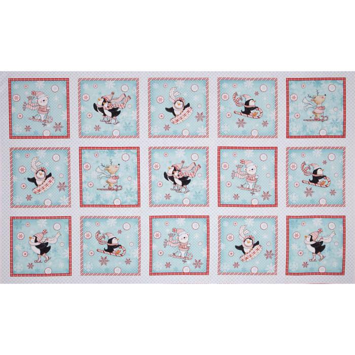 Peppermint Penguin Block Patches Aqua