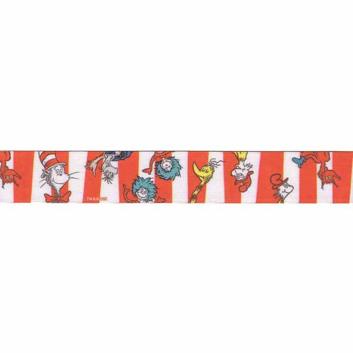 """7/8"""" Dr. Seuss Character Stripe Ribbon Red"""