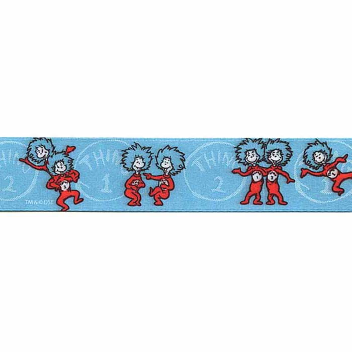 """7/8"""" Dr. Seuss Thing One Thing Two Ribbon Blue"""