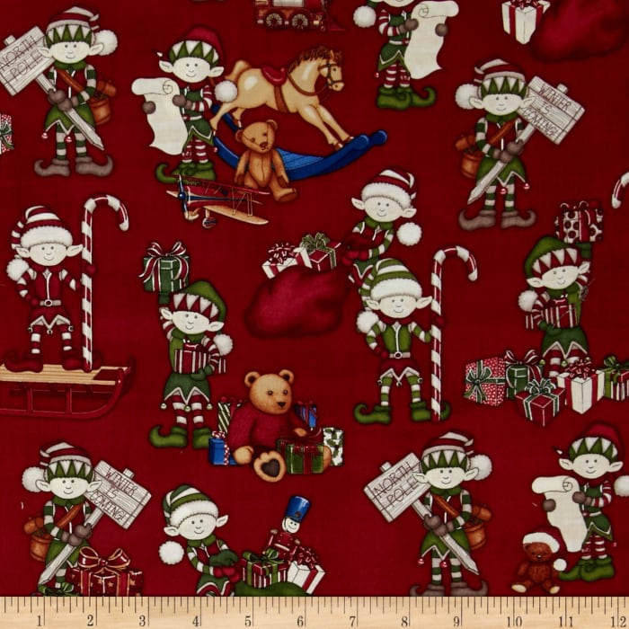 Holly Jolly Elves & Toys Red