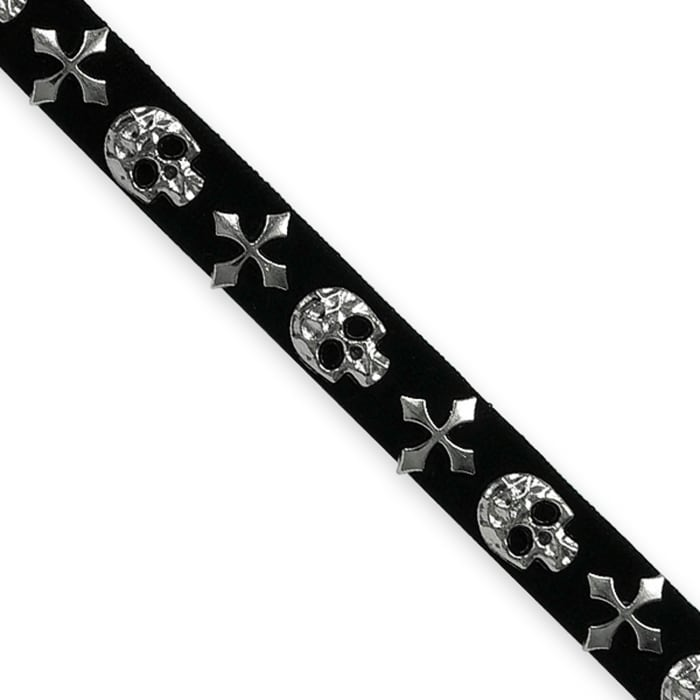"""1/2"""" Faux Suede Skulll Hot Fix Banding Silver"""