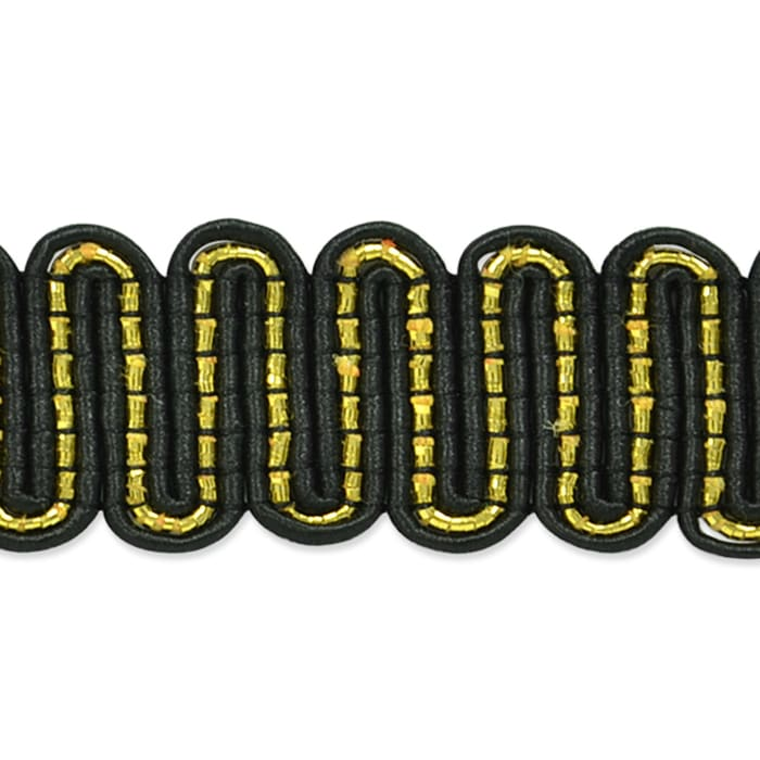 "3/4"" Luna Metallic Braid Trim Roll Black/Gold"