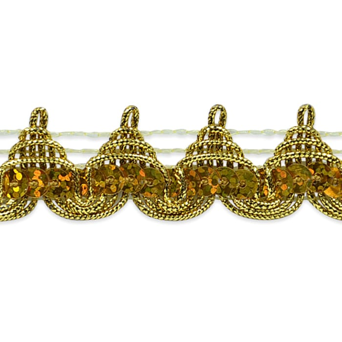 """3/4"""" Averil Pointed Sequin Braid Trim Roll Gold"""