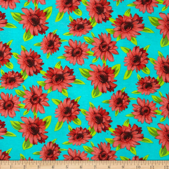 Soft Jersey Knit Floral Red/Turquoise/Green