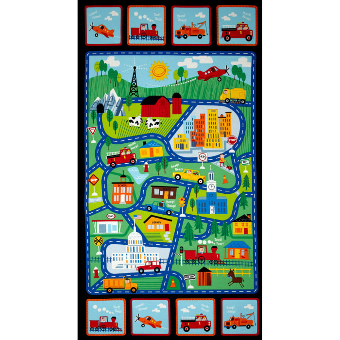Timeless Treasures Street Map 24 In. Panel Multi