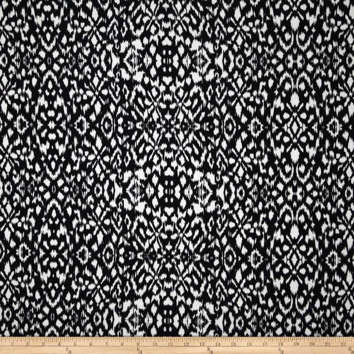 Venice Stretch ITY Jersey Knit Abstract Tribal Black/White