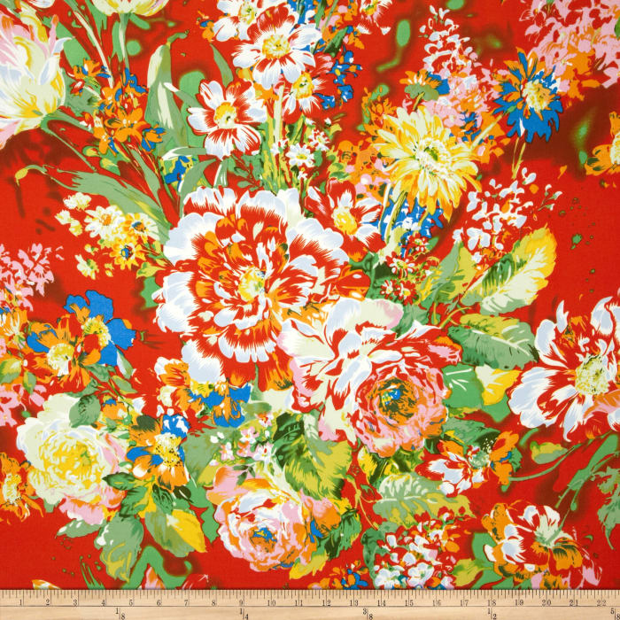 Matisse Crepe Floral Rust/Green/Blue/Yellow