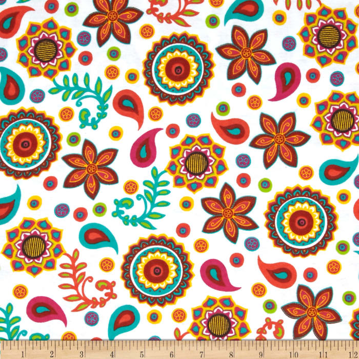 Ombu Flannel Floral Tossed Flowers White