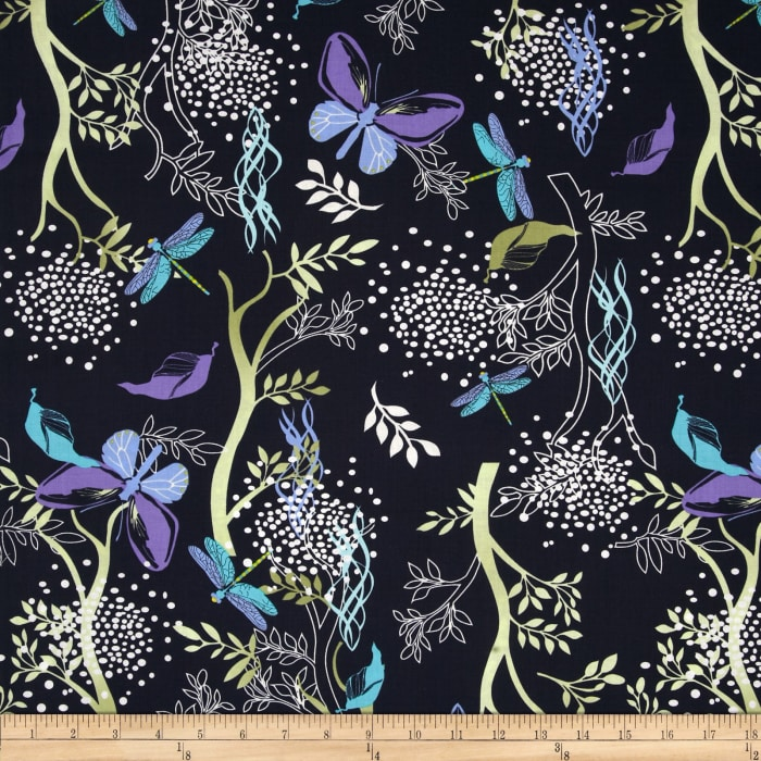 Timeless Treasures Midsummer's Eve Butterfly & Dragonfly Floral Navy