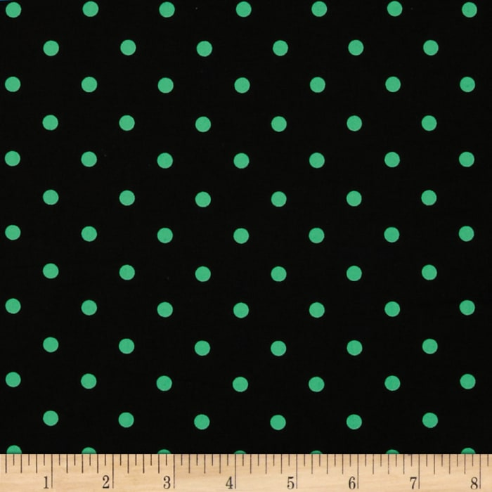 Stretch Poplin Dots Black/Fern