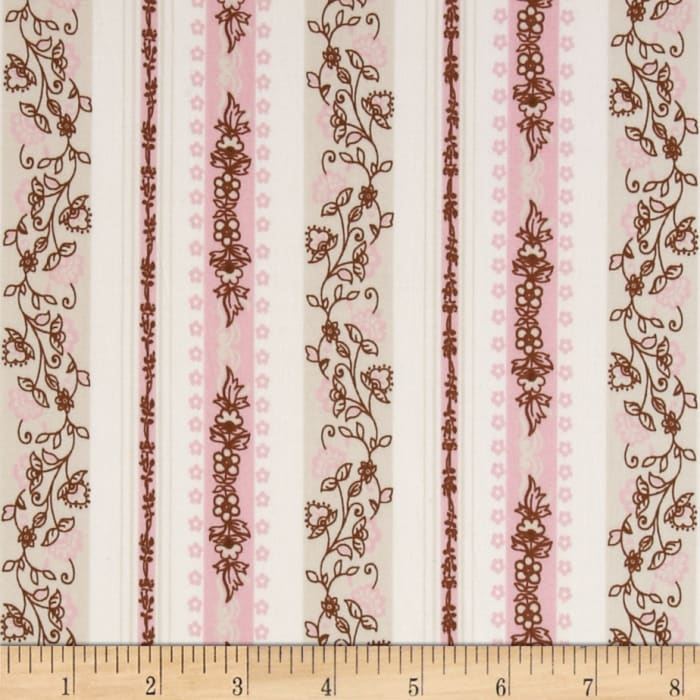 Stretch Poplin Abstract Pink/Tan/Cream