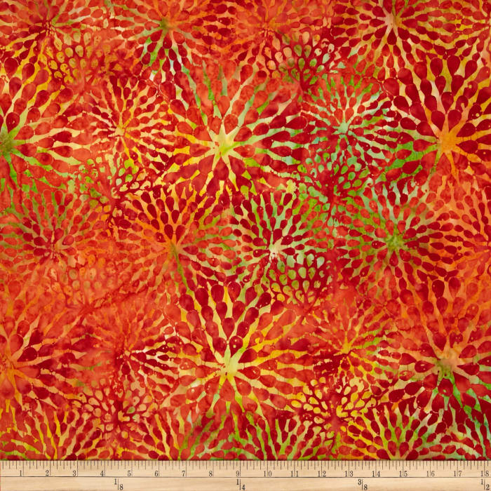 Timeless Treasures Tonga Batik Sunburst Dahlias Sunset
