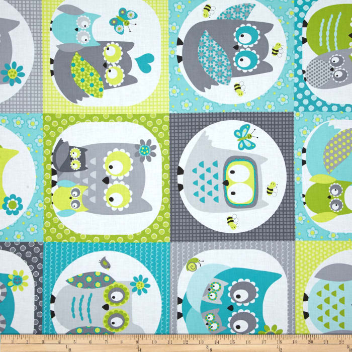 Whoo Loves You Patchwork Gray/Green