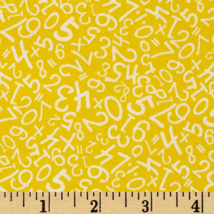 Back to School Scattered Numbers Yellow