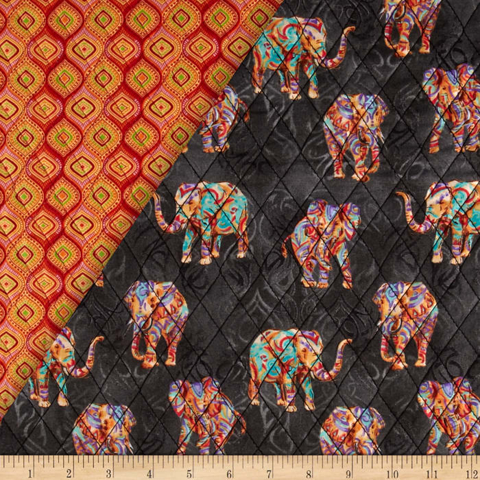 Tribal Instincts Double Sided Quilted Tribe Elephant Bright Colors