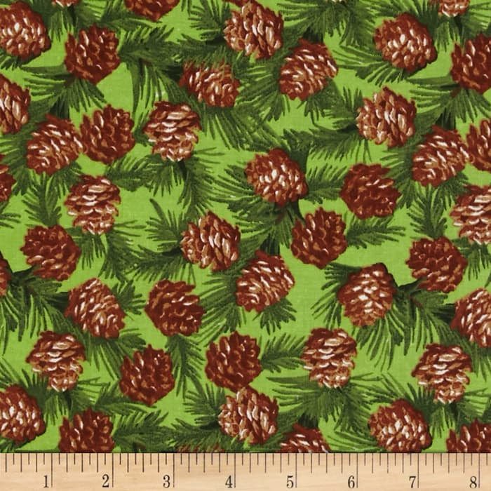 Traditional Holiday Pine Cones Green