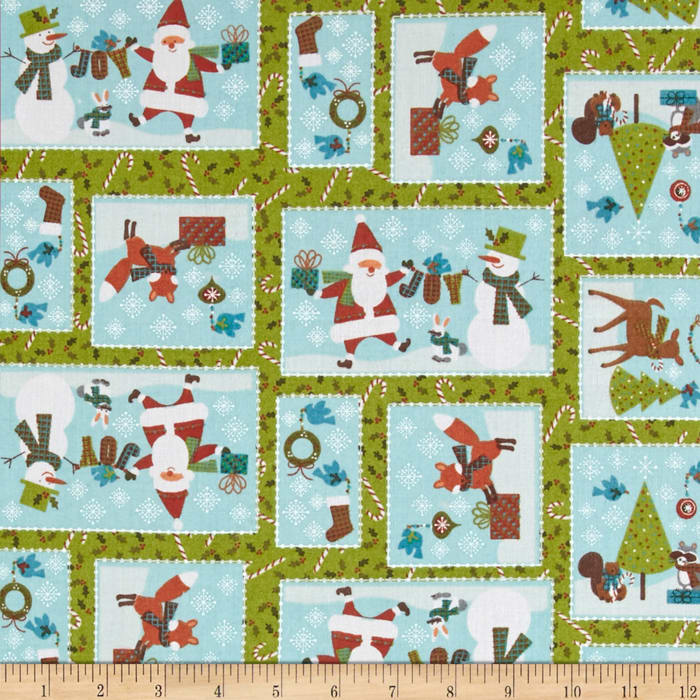 Woodland Christmas Patchwork Green