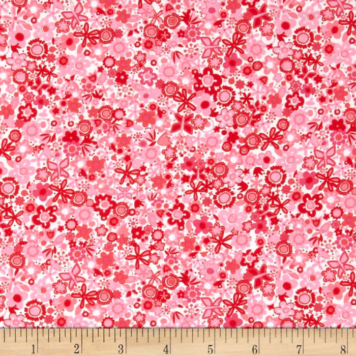 Michael Miller Sweetheart Tiny Flowers Red