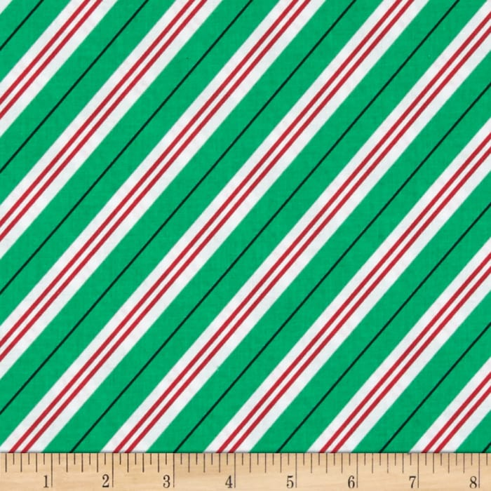 Michael Miller All the Trimmings Candy Cane Stripe Evergreen