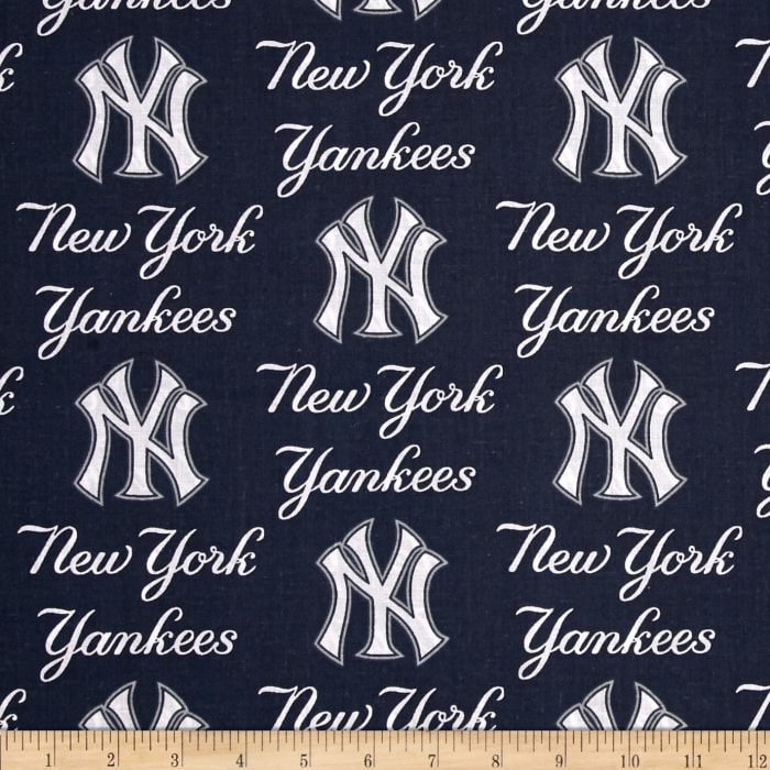 MLB Cotton Broadcloth New York Yankees Blue