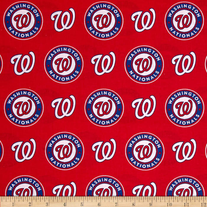 MLB Cotton Broadcloth Washington Nationals Red/Blue