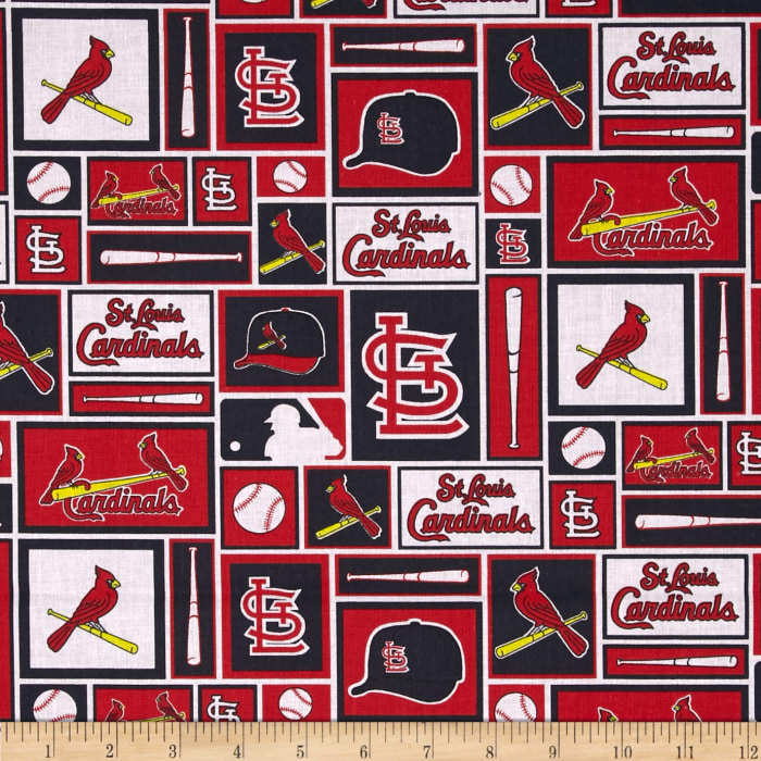 MLB Cotton Broadcloth St. Louis Cardinals Black/Red