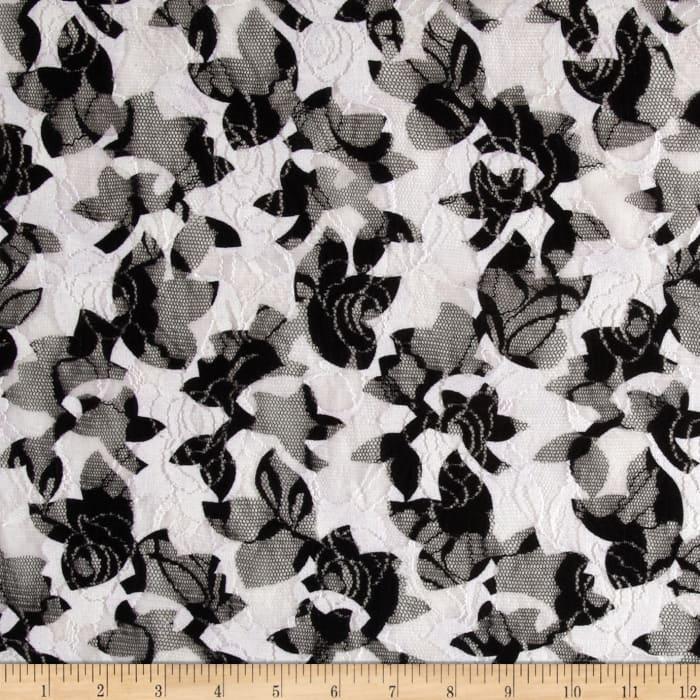Printed Lace Floral Black/White