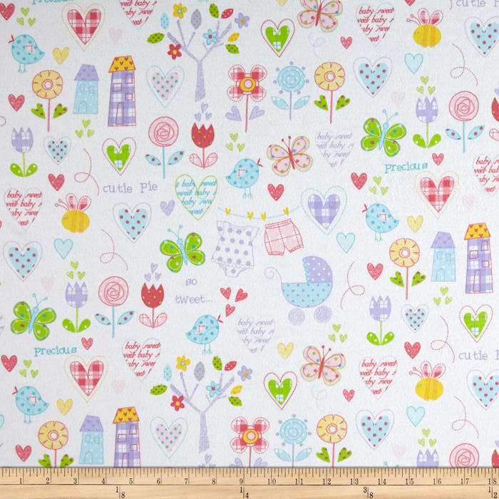 Flannel Hearts & Flowers White