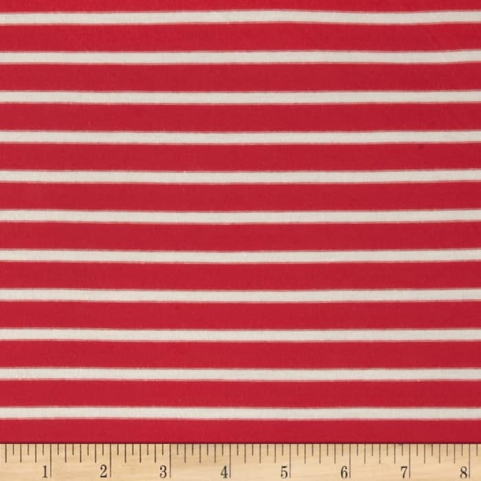 Stretch Rayon Jersey Knit Small Stripe Coral/Off White