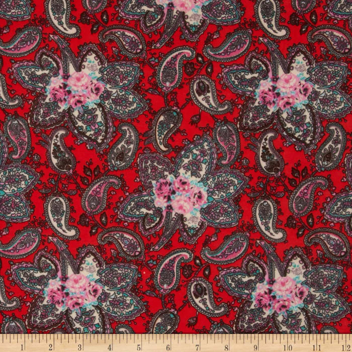 Stretch ITY Jersey Knit Paisley/Floral Red/Pink/White