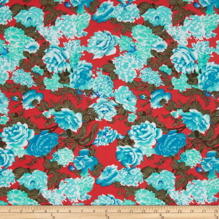 Stretch ITY Jersey Knit Floral Coral/Blue