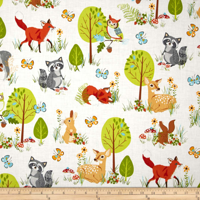 Kaufman forest fellow racoons wild discount designer for Wholesale childrens fabric