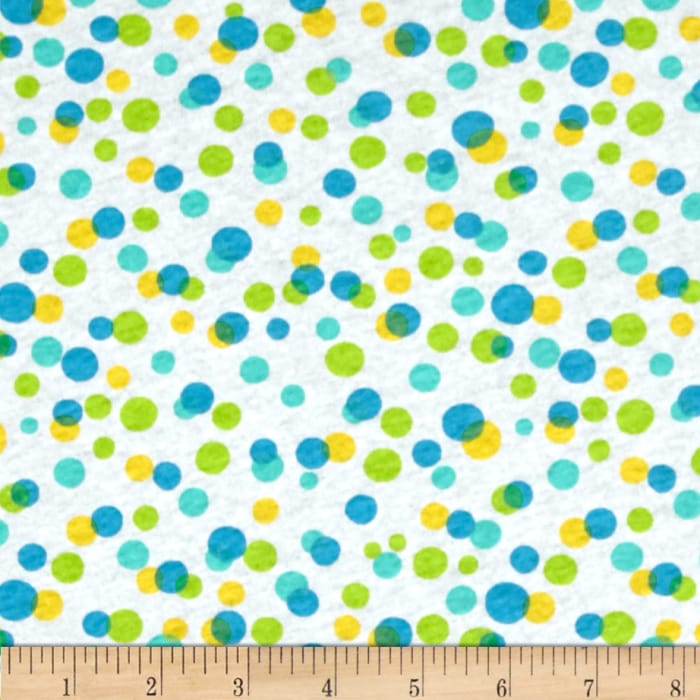 Girl's Summer Camp Adventure Jersey Knit Circles Yellow/Lime/Turquoise/White