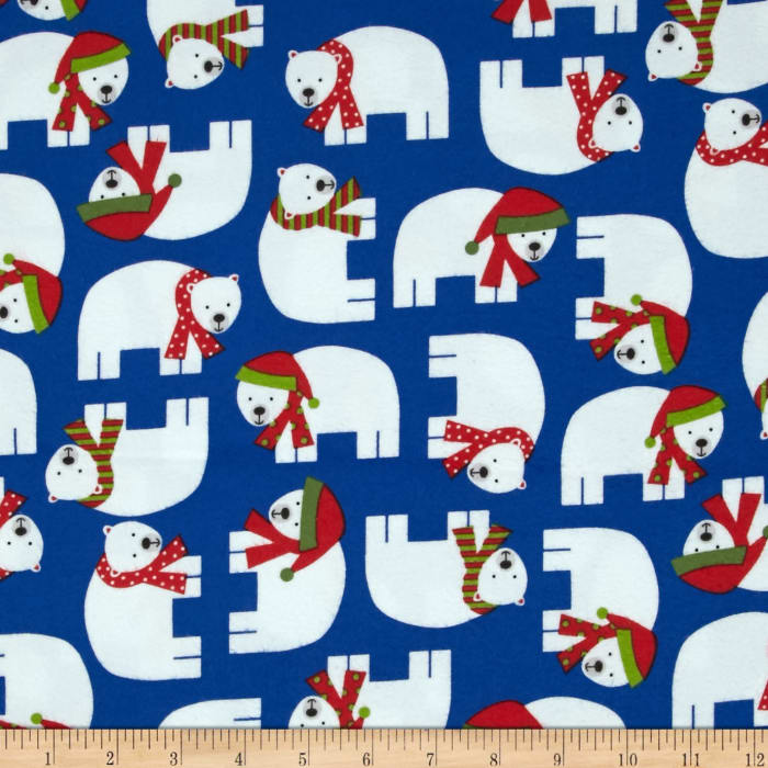 Kaufman Jingle Flannel Polar Bears Winter