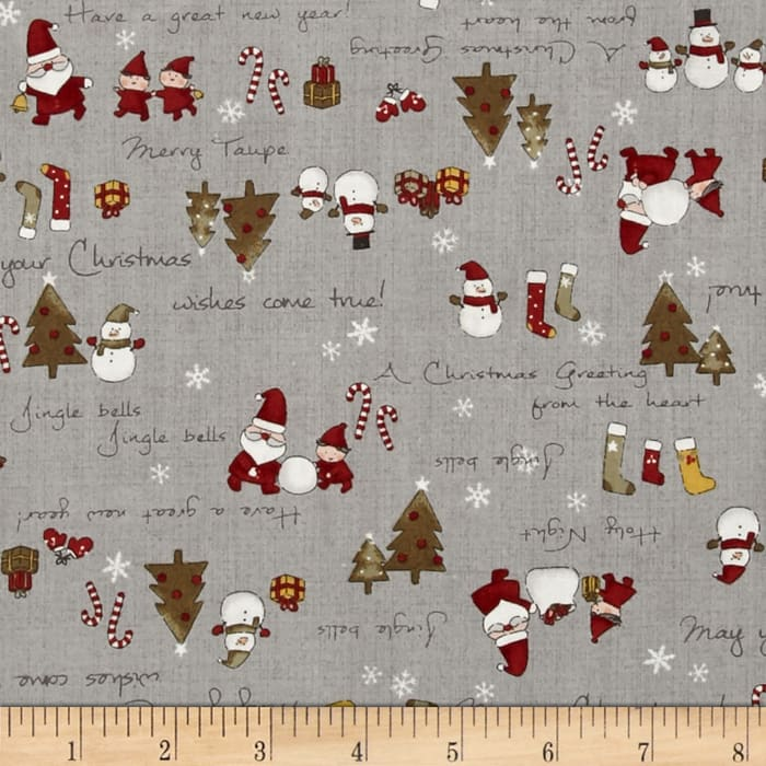 Lecien Merry Taupe Christmas Words Gray