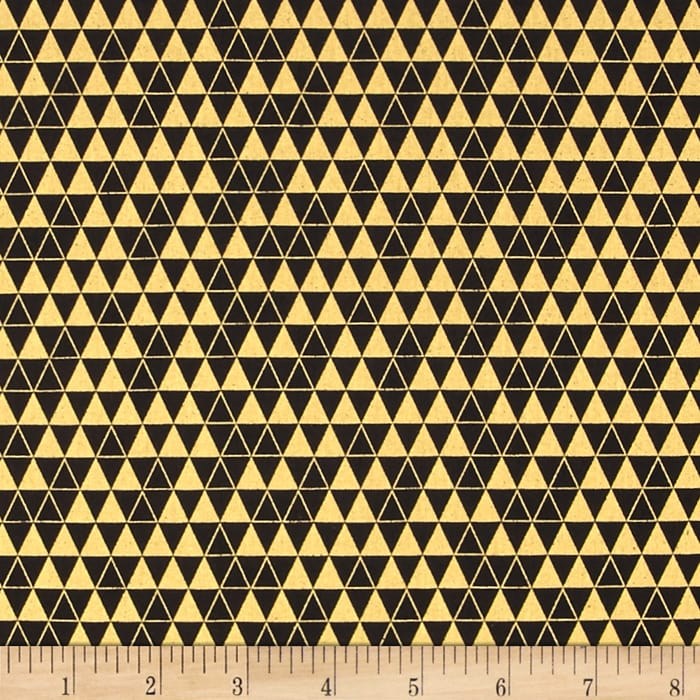 Bold & Gold Metallic Triangle Grid Black