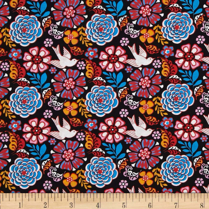 Mexican Folklore Floral Black Discount Designer Fabric