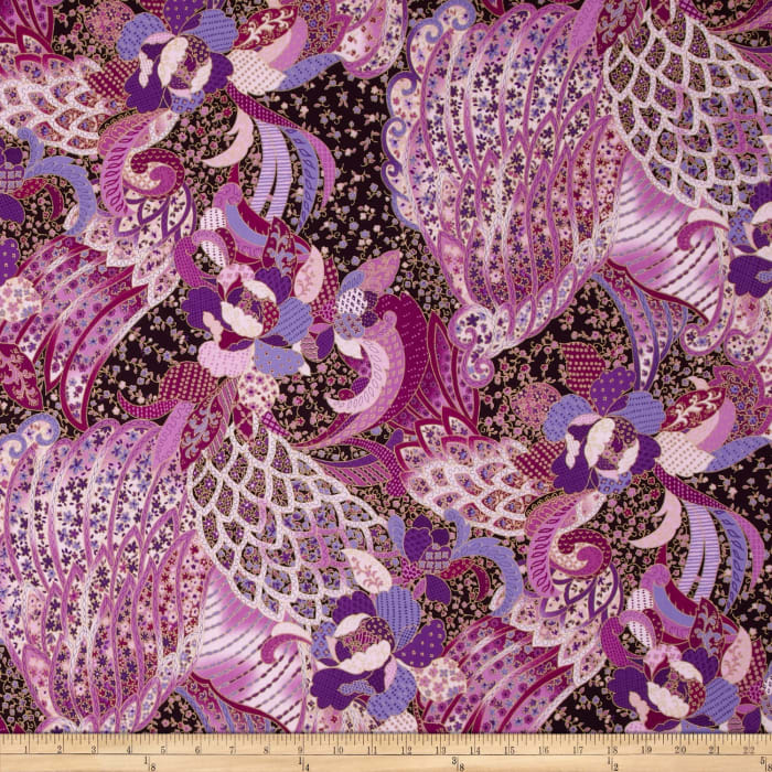 Sonja Metallic Packed Floral Amethyst/Gold