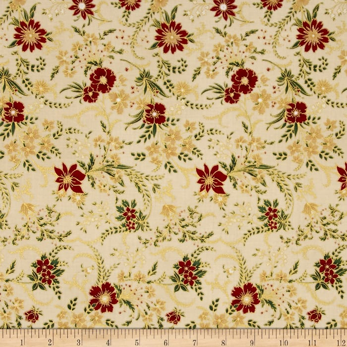Berries and Blooms Metallic Christmas Floral Natural/Gold