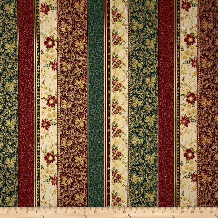 Berries and Blooms Metallic Border Stripe Natural/Gold