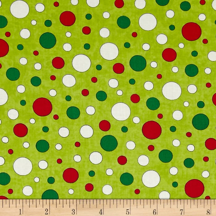 Moda Ho! Ho! Ho! Jolly Polk Dots Elf Green